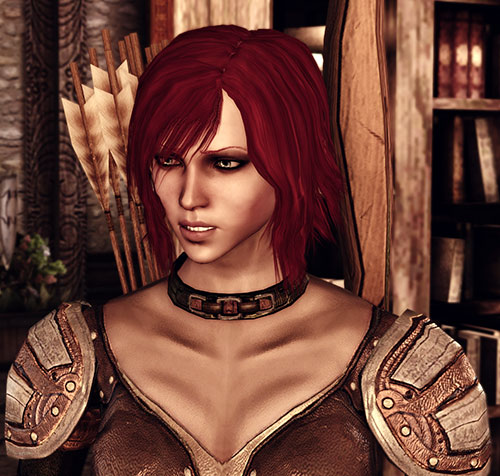 Leliana (Dragon Age Origins) closeup with bow and quiver