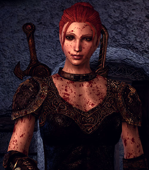 Leliana (Dragon Age Origins) in Leliana's Song - covered in blood