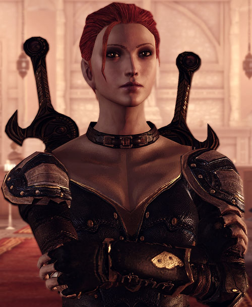 Leliana (Dragon Age Origins) in Leliana's Song - crossed arms