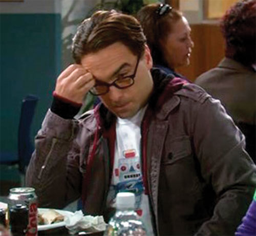 Leonard Hofstadter (Johnny Galecki in Big Bang Theory) at the cafeteria