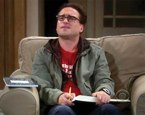 Leonard Hofstadter (Johnny Galecki in Big Bang Theory) on a couch