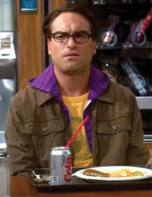 Leonard Hofstadter (Johnny Galecki in Big Bang Theory) with a lunch tray