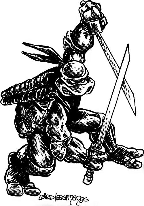 Leonardo of the Teenage Mutant Ninja Turtles (TMNT comics) B&W art Laird Eastman 85