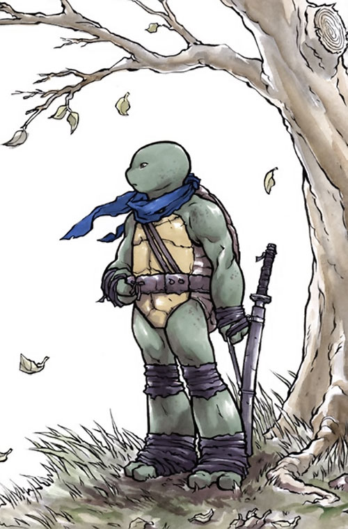 Leonardo of the Teenage Mutant Ninja Turtles (TMNT comics) under a winter tree