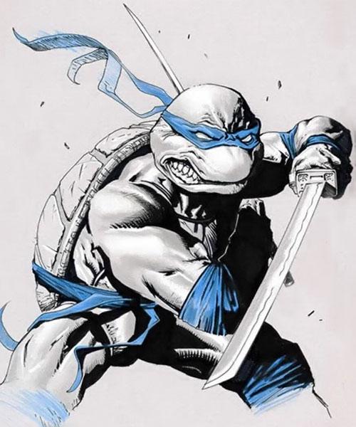 Leonardo of the Teenage Mutant Ninja Turtles (TMNT comics) grey and blue art