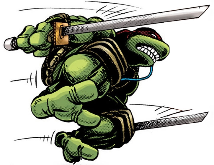 Leonardo jumping and dual-wielding ninja-to