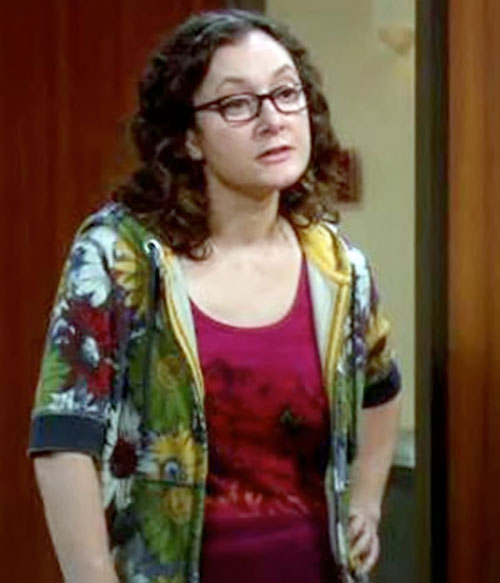 Leslie Winkle (Sara Gilbert in Big Bang Theory) looking sardonic