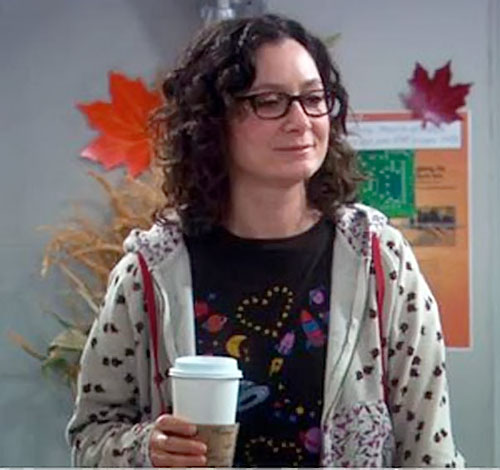 Leslie Winkle (Sara Gilbert in Big Bang Theory) with a coffee