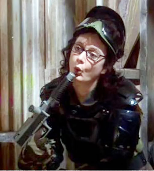 Leslie Winkle (Sara Gilbert in Big Bang Theory) in paintball gear