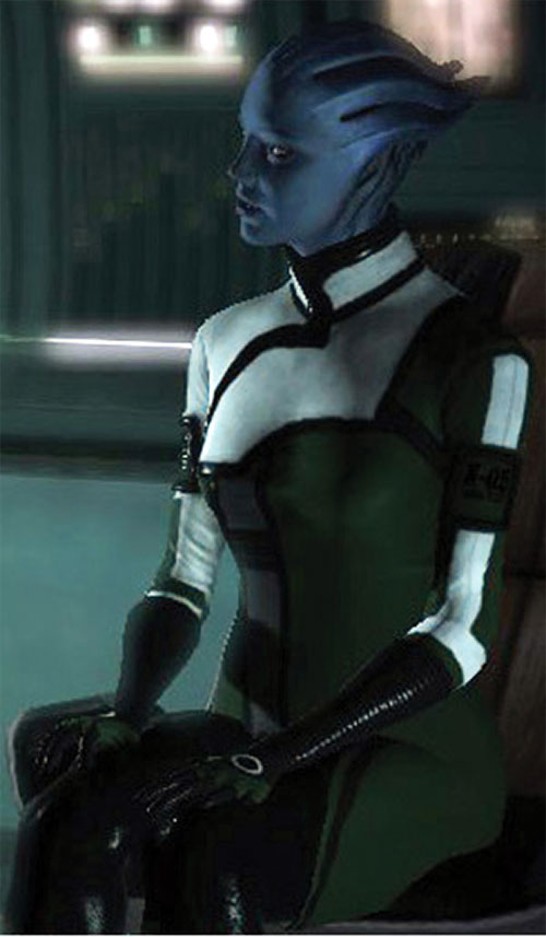 Liara T'Soni (Mass Effect) sitting and lecturing