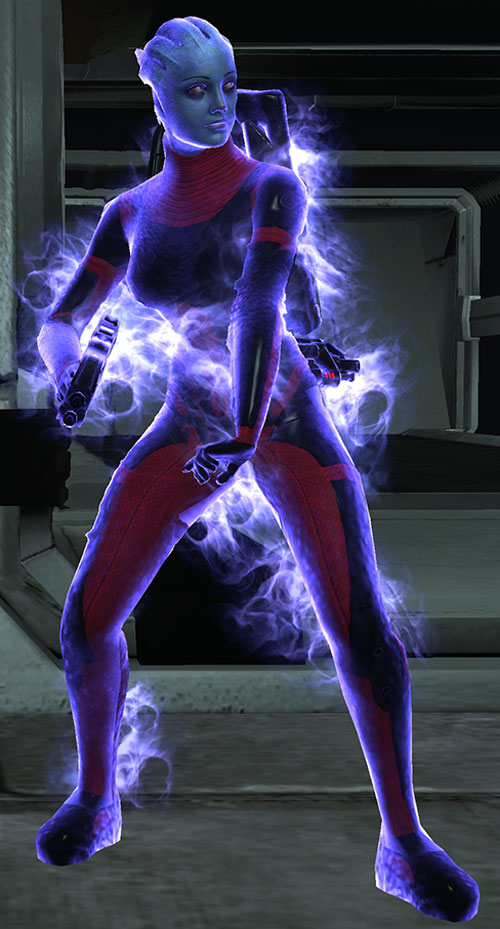 Liara T'Soni (Mass Effect) preparing a biotic warp