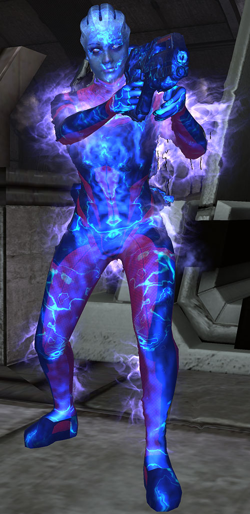 Liara T'Soni (Mass Effect) shrouded in a biotic barrier