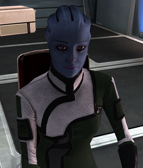 Liara T'Soni (Mass Effect) working at her desk
