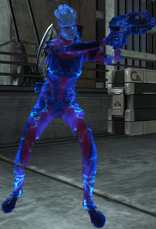 Liara T'Soni (Mass Effect) fading biotic barrier