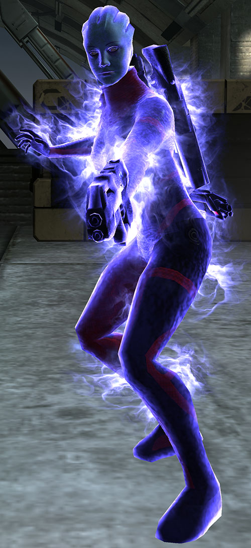Liara T'Soni (Mass Effect) covered in Dark Energy biotic