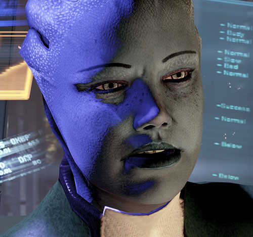 Liara T'Soni (Mass Effect 2) angry face closeup