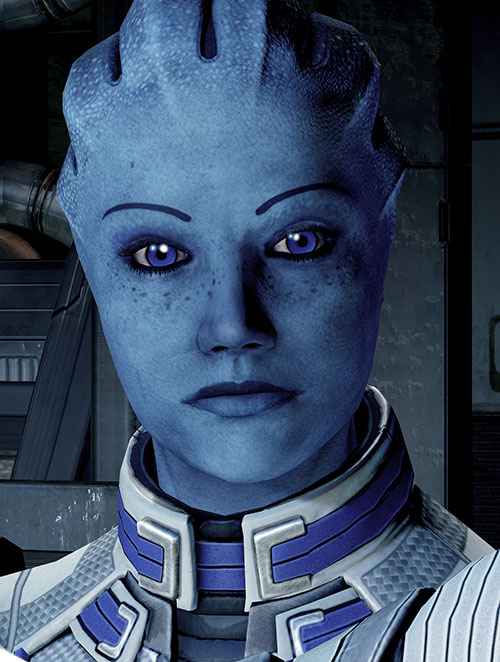 Liara T'Soni (Mass Effect 2) high resolution face closeup