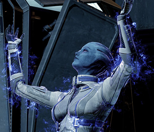 Liara T'Soni (Mass Effect 2) preparing a biotic effect