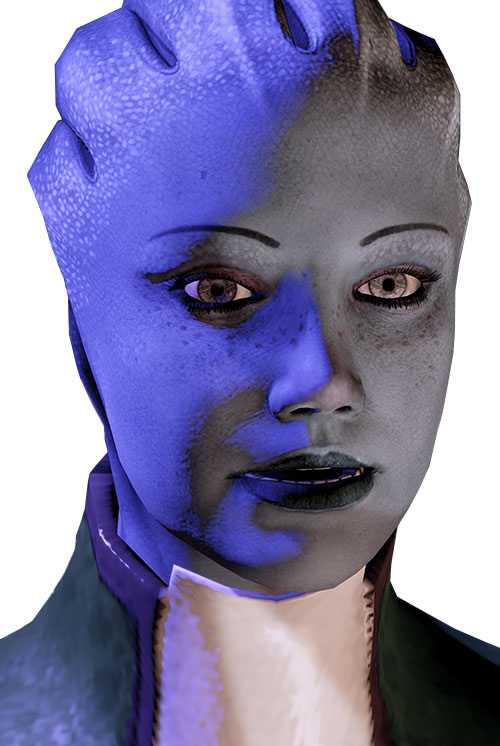 Liara T'Soni (Mass Effect 2) face closeup