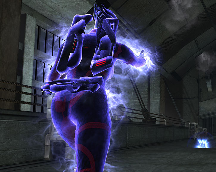Liara making a biotic attack (also, her butt because I'm a poor photograph)