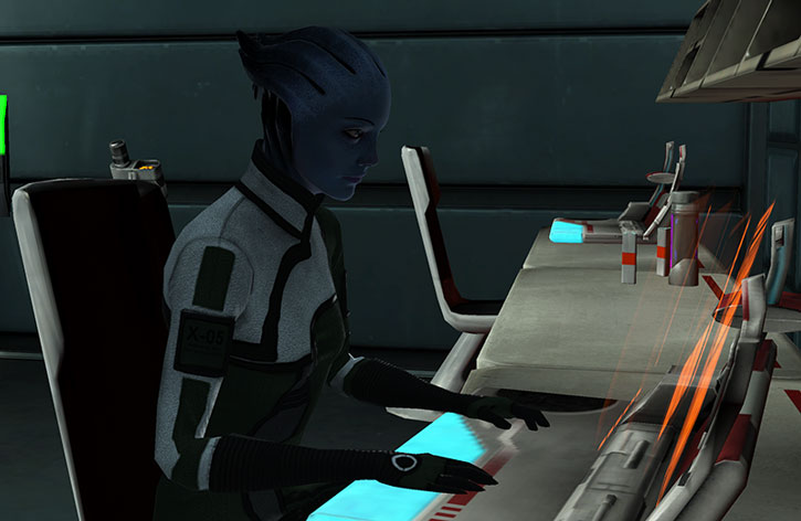 Liara working in the Normandy SR1