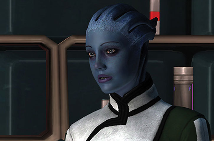 Liara talking in her office