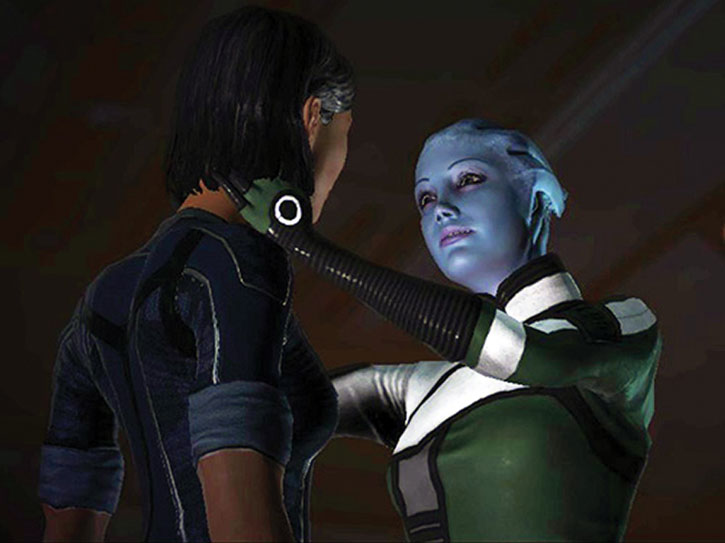 Liara about to kiss Commander Shepard