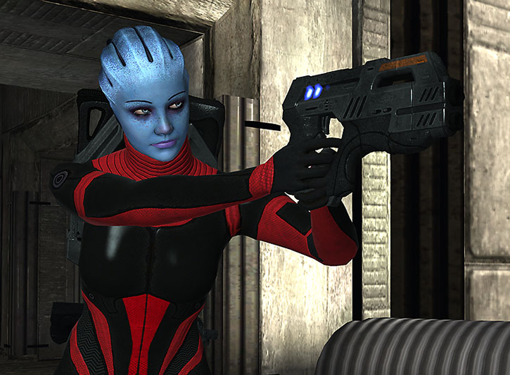 Liara in Colossus light armor aiming a pistol