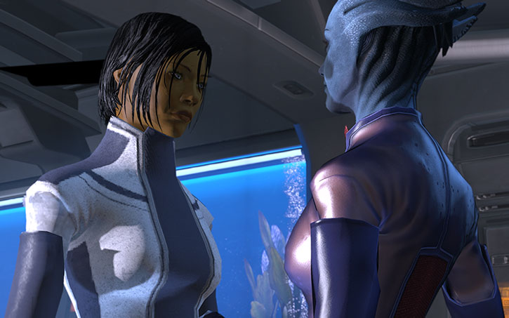 Liara and Commander Shepard having a romantic diner