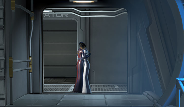 Liara and Commander Shepard hugging