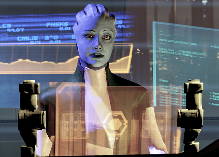 Liara working as an information broker