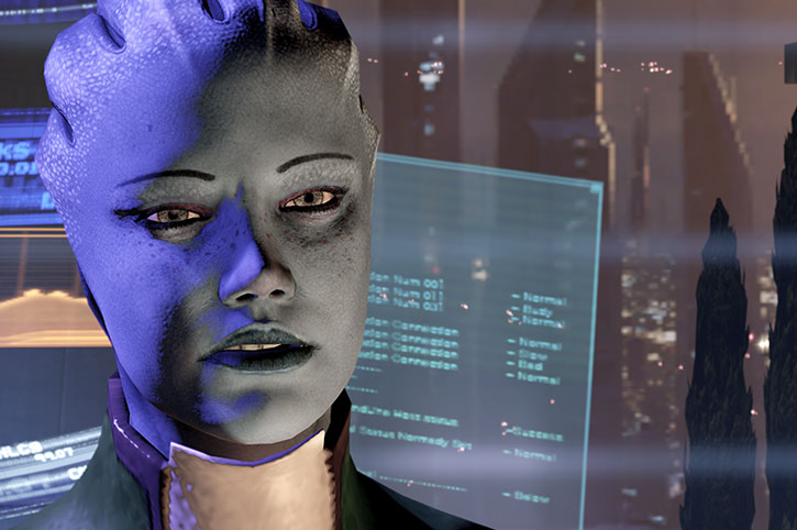 An angry Liara in her office, talking about the Shadow Broker
