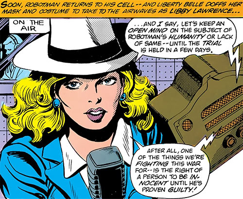 Liberty Belle (DC Comics) out of costume, as a radio personality