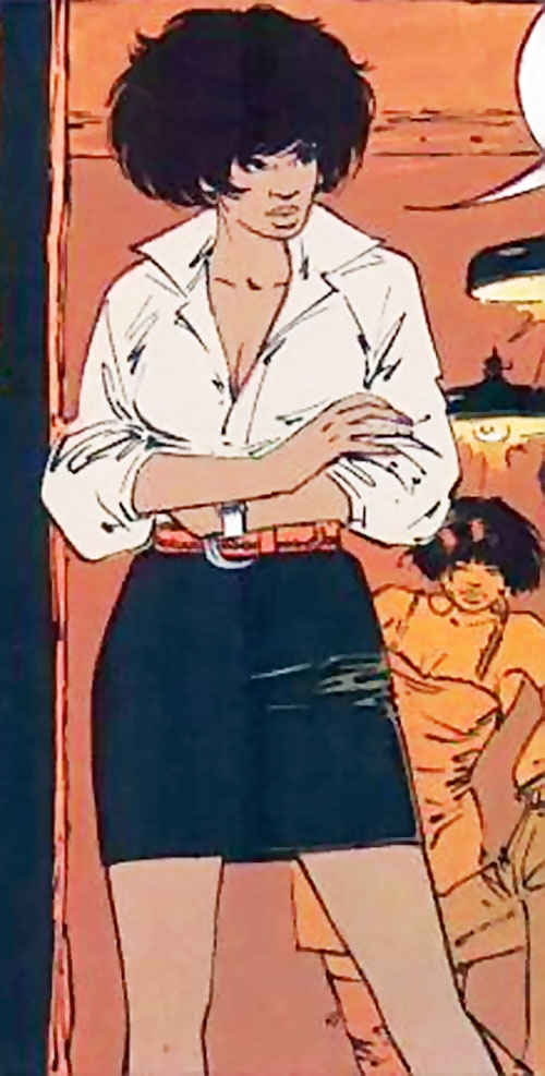 Lieutenant Jones (XIII comics) in a white blouse and black miniskirt