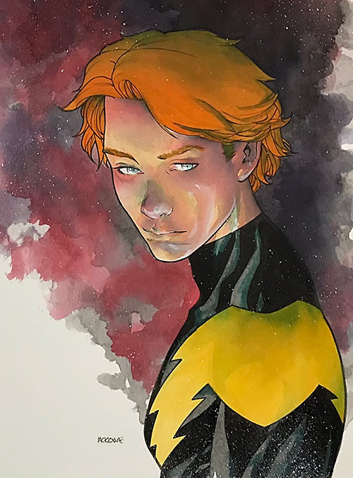 Painted portrait of Lightning Lad (DC Comics, Legion of Super-Heroes) by Mike McKone