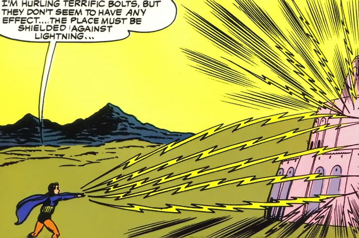Lightning Lad (Garth Ranzz) tries to blast a fortress