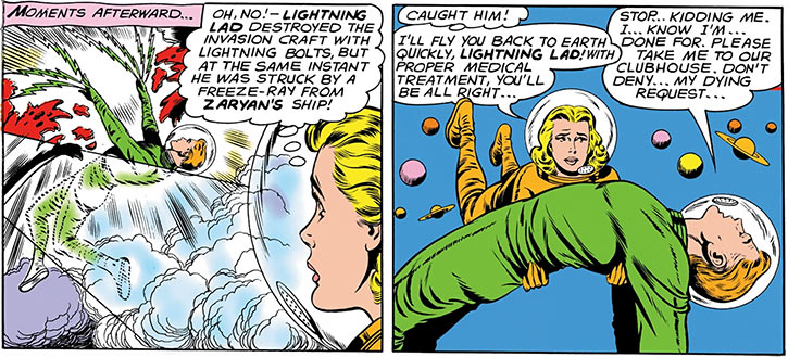 Lightning Lad (Garth Ranzz) dies fighting an invasion