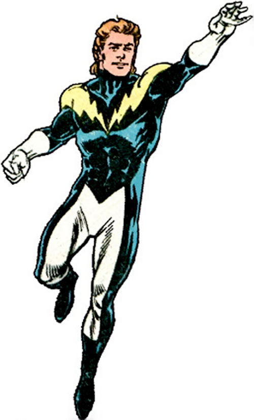 Lightning Lad of the Legion of Super-Heroes (pre-reboot DC Comics) in flight