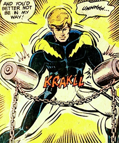 Lightning Lad of the Legion of Super-Heroes (pre-reboot DC Comics) in chains