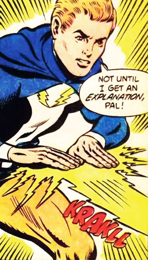 Lightning Lad of the Legion of Super-Heroes (Silver Age DC Comics) blasting