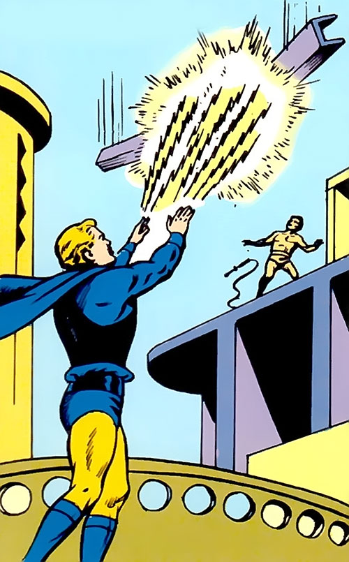 Lightning Lad of the Legion of Super-Heroes (Silver Age DC Comics) blasting a falling I-beam