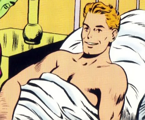 Lightning Lad of the Legion of Super-Heroes (Silver Age DC Comics) in a hospital bed