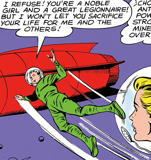 Lightning Lad of the Legion of Super-Heroes (Silver Age DC Comics) in a green space suit
