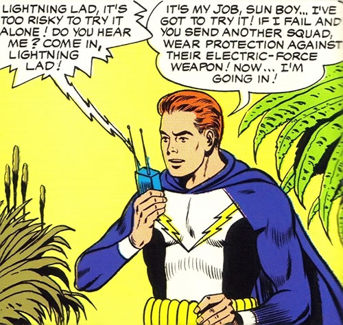Lightning Lad of the Legion of Super-Heroes (Silver Age DC Comics) using a radio