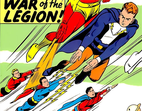 Lightning Lad of the Legion of Super-Heroes (Silver Age DC Comics) shooting at Superboy
