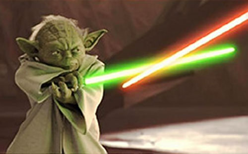 Yoda in a lightsaber duel