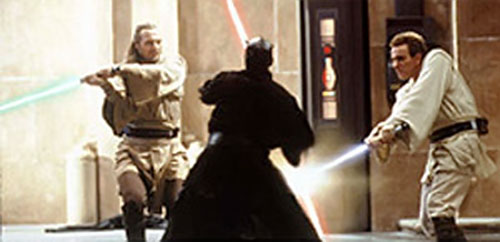 Darth Maul fighting two Jedi with his dual lightsaber
