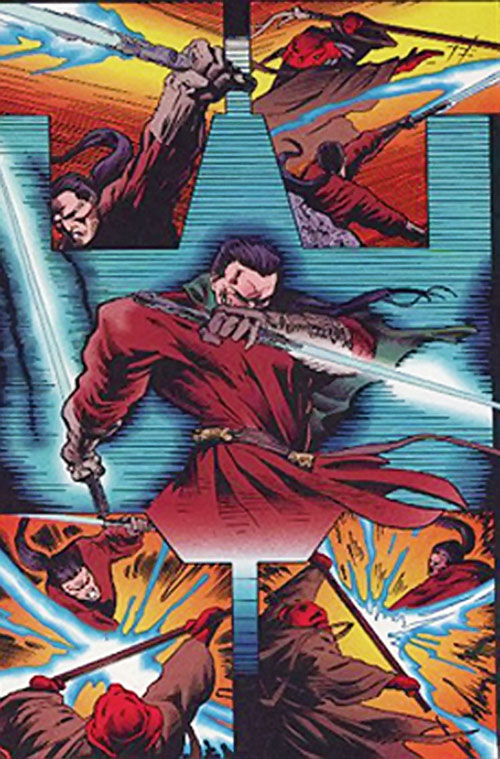 Dual-wielding Star Wars lightsabers in a comic book