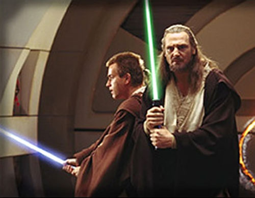 Qui-Gon Jinn and Obi Wan Kenobi with lightsabres