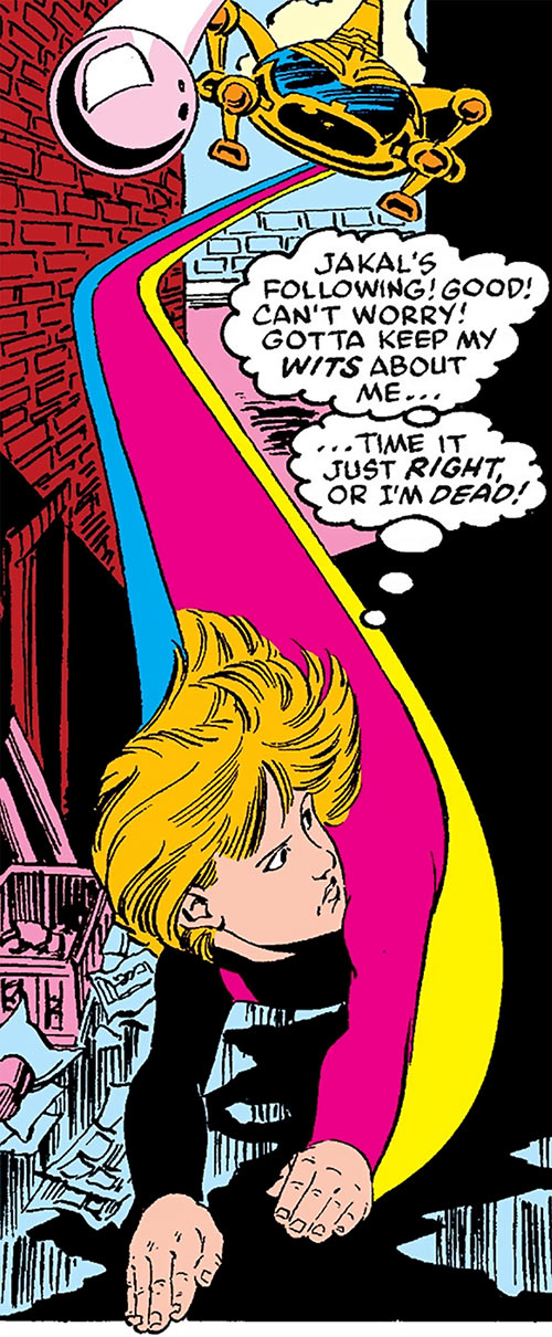 Lightspeed of Power Pack (Marvel Comics) chased by a Snark craft